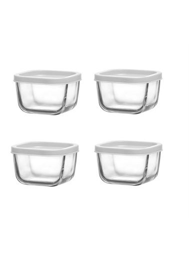 Lav Saklama Kabı Cam Kahvaltılık 4 Lü - Saklama Seti 270 Cc Beyaz Renkli